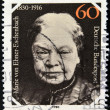 GERMANY - CIRCA 1980: A stamp printed in Germany, is dedicated to the 150th anniversary of the birth Baroness Marie von Ebner-Eschenbach, circa 1980 — Stock Photo