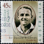AUSTRALIA - CIRCA 1997.A stamp printed in Australia dedicated to australian legends, shows Sir Donald Bradman, cricketer, circa 1997 — Stock Photo