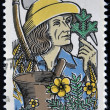 Stock Photo: CANAD- CIRC1985: stamp printed in Canadshows apothecary gathering medicinal plants, circ1985