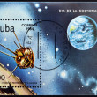 CUBA - CIRCA 1984: A stamp printed in Cuba shows first satellite to the moon, circa 1984 — Stock Photo