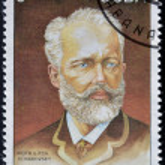 Постер, плакат: CUBA CIRCA 1993: A stamp printed in Cuba shows russian musician Petr Tchaikovsky circa 1993