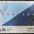 "FRANCE - CIRCA 1996: A stamp printed in France shows the work ""Horizon"" by Jan Dibbets, circa 1996 — Lizenzfreies Foto"