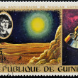 GUINEA CIRCA 1973: stamp printed by Guinea, dedicated to  the anniversary of Nicolas Copernicus shows Moon landscape and spacecraft, circa 1973 — Stock Photo