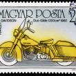HUNGARY - CIRCA 1985: A stamp printed in Hungary shows Harley Davidson, Duo-Glide 1200 cm 1960, circa 1985. — Stock Photo