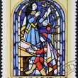 Stock Photo: HUNGARY - CIRC1972: stamp printed by Hungary, shows Stained-glass Window, 16th century scribe, by Ferenc Sebesteny, circ1972