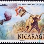 ������, ������: NICARAGUA CIRCA 1978: A stamp printed in Nicaragua dedicated to 150 years anniversary of Jules Verne circa 1978
