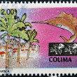 MEXICO - CIRCA 1997: Astamp printed in Mexico shows palm trees, buildings and a sailfish associated with the state and city of Colima, Mexico, circa 1997 — Stock Photo