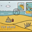 NEW ZEALAND - CIRCA 2004: A postcard printed in New Zealand dedicated to children's health shows a day at the beach, circa 2004 — Stock Photo