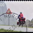 NORWAY - CIRCA 2004: A stamp printed in Norway shows biker on a mountain road, circa 2004 — Stock Photo