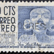 Stock Photo: MEXICO - CIRC1990: stamp printed in Mexico dedicated to Archaeology at SLuis Potosi, circ1990