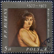 POLAND - CIRCA 1977: A stamp printed in the poland shows fragment of draw of artist Peter Paul Rubens, circa 1977 — Stock Photo