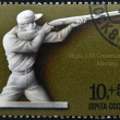 Royalty-Free Stock Photo: USSR - CIRCA 1977: Stamp printed in Russia, dedicated to XXII Olympic games in Moscow in 1980 shows Olympic shot, circa 1977
