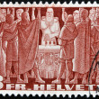 SWITZERLAND - CIRCA 1938: A stamp printed in Switzerland shows medieval knights, circa 1938 — Stock Photo