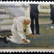 TANZANIA - CIRCA 2005: A stamp printed in Tanzania shows pope John Paul II on arrival in Tanzania on 1990, circa 2005 — Stock Photo