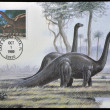 UNITED STATES OF AMERICA - CIRCA 1989: stamp printed in USA shows Brontosaurus, circa 1989 - Stock Photo