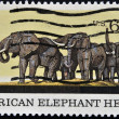 UNITED STATES OF AMERIC-CIRC1970: stamp printed in USshows picture of AfricElephant Herd, circ1970 — Stock Photo #9852763