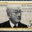 Stock Photo: GERMANY- CIRC1977: stamp printed in Germany shows JeMonnet, French proponent of unification of Europe, circ1977.