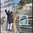 GERMANY - CIRCA 1990: A stamp printed in Germany, is dedicated to the first anniversary of the fall of the Berlin Wall, circa 1990 — Stock Photo