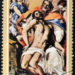 Stock Photo: REPUBLIC OF BURUNDI - CIRC1972: stamp printed in Burundi shows draw by artist El Greco - Holy Trinity, circ1972