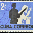 Stock Photo: CUB- CIRCA1962: stamp printed in cubshows workers' militia, circ1962