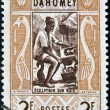 DAHOMEY CIRC1961: stamp printed in Dahomey shows Wood sculptor, circ1961 — Stock Photo #9854171