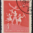 Royalty-Free Stock Photo: CHINA - CIRCA 1958: A stamp printed in China shows pioneers and models of aircraft, circa 1958