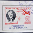 ECUADOR - CIRCA 1949: A stamp printed in Ecuador shows plane and President Roosevelt, circa 1949 — Stock Photo
