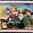FRANCE - CIRCA 2002: A stamp printed in France dedicated to World Athletics Championship for disabled, circa 2002 - Zdjęcie stockowe