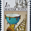 Stock Photo: HUNGARY - CIRC1985: stamp printed in Hungary, shows Frederic Handel, kettle drum, horn, circ1985