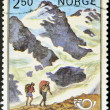 NORWAY - CIRCA 1983: A stamp printed in Norway shows climbers up the mountain, circa 1983 — Stock Photo #9854549