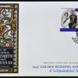 Stock Photo: NEW ZEALAND - CIRC1997: postcard printed in New Zealand commemorating golden wedding anniversary of Queen Elizabeth II, circ1997