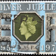UNITED KINGDOM - CIRCA 1977: A stamp printed in Great Britain honoring Silver Jubillee shows Queen Elizabeth II, circa 1977 — Photo
