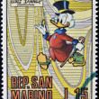 Stock Photo: SAN MARINO - CIRC1970: stamp printed in SMarino shows Scrooge McDuck, cartoon character of Walt Disney, circ1970