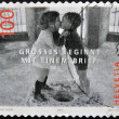 SWITZERLAND - CIRCA 2005: A stamp printed in Switzerland shows image to two boys kissing, great start with a brief, circa 2005 — Stock Photo