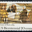 USA - CIRCA 1983 : A stamp printed in the USA shows Treaty of Paris 1783, US Bicentennial, circa 1983 — Stock Photo