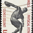 Stock Photo: UNITED STATES OF AMERIC- CIRC1965: stamp printed in United States of Americshows Discus thrower, centenary of founding Sokol, athletic organization in America, circ1965