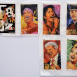 Royalty-Free Stock Photo: UNITED STATES OF AMERICA - CIRCA 2011: set of 6 stamps dedicated to Latin Jazz, shows Celia Cruz, Selena, Carlos Gardel, Tito Puente and Carmen Miranda, circa 2011