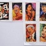 UNITED STATES OF AMERICA - CIRCA 2011: set of 6 stamps dedicated to Latin Jazz, shows Celia Cruz, Selena, Carlos Gardel, Tito Puente and Carmen Miranda, circa 2011 — Stock Photo