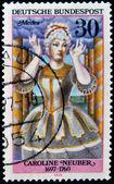 GERMANY - CIRCA 1976: A stamp printed in Germany shows German actress Caroline Neuber as Medea, circa 1976 — Stock fotografie