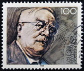 GERMANY - CIRCA 1989: A stamp printed in Germany dedicated to the 100th anniversary of the birth Reinhold Maier, circa 1989 — Stock Photo