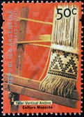 ARGENTINA - CIRCA 2000: A stamp printed in Argentina dedicated to Mapuche culture, shows Andean vertical loom, circa 2000 — Stock Photo