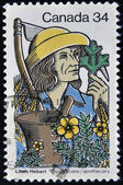 CANADA - CIRCA 1985: A stamp printed in Canada shows apothecary gathering medicinal plants, circa 1985 — Stock Photo