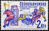 CZECHOSLOVAKIA - CIRCA 1978: A stamp printed in Czechoslovakia shows Ice hockey, circa 1978 — Stock Photo