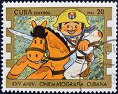 CUBA - CIRCA 1984: A stamp printed in Cuba shows Elpidio Valdes cartoon character, circa 1984 — Stock Photo