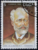 CUBA - CIRCA 1993: A stamp printed in Cuba shows russian musician Petr Tchaikovsky, circa 1993 — Stock Photo