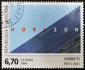 "FRANCE - CIRCA 1996: A stamp printed in France shows the work ""Horizon"" by Jan Dibbets, circa 1996 — Stockfoto"
