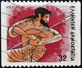 "GREECE - CIRCA 1986: A stamp printed in Greece from the ""Gods of Olympus"" issue showing god Ares, circa 1986. — Stock Photo"