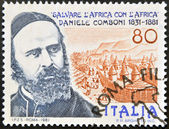 ITALY - CIRCA 1981: A stamp printed in Italy shows Daniel Comboni missionary, save Africa with Africa, circa 1981 — Stock Photo