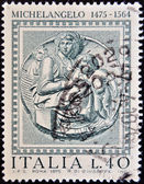 ITALY - CIRCA 1975: A stamp printed in Italy shows Madonna Pitti by Michelangelo, circa 1975 — Stock Photo