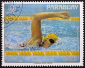 PARAGUAY - CIRCA 1976: A stamp printed in Paraguay shows American swimmer Shirley Babashoff, circa 1976 — Stock Photo